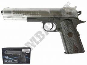 2123-A1 BB Gun | Colt 1911 Long Airsoft Spring Pistol 2 Tone Clear Black | KOMBATKIT